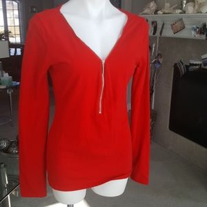 Patty Boutik red zip front stretch top. Xl